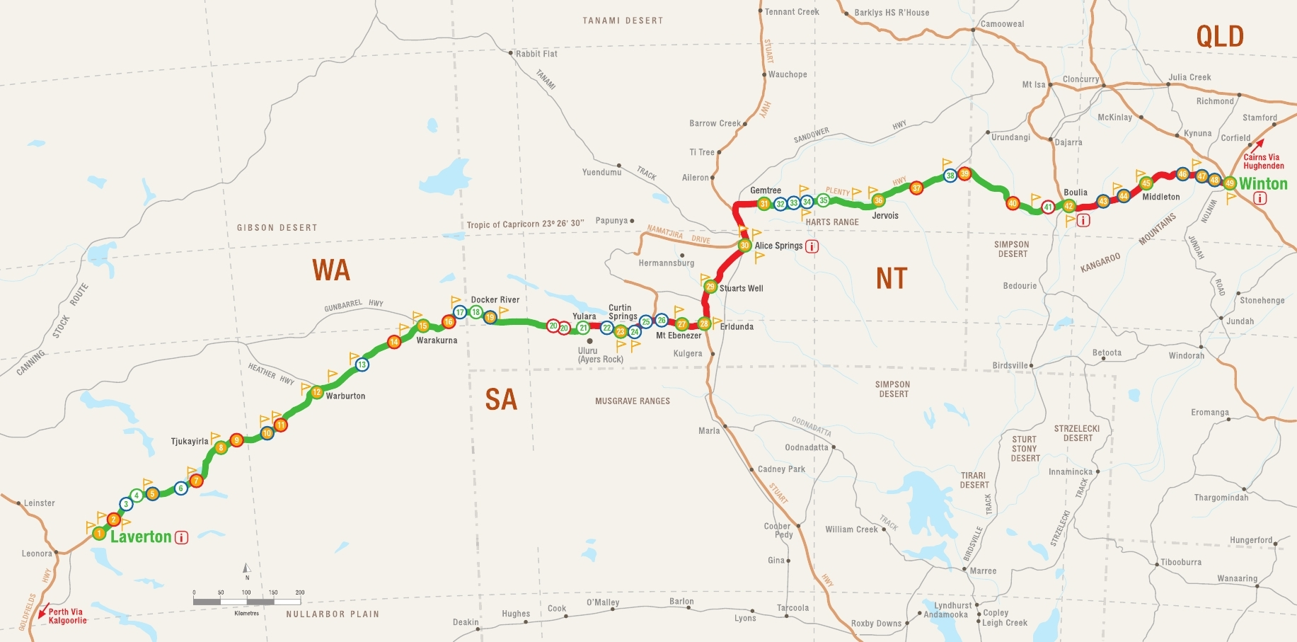 Map Of Australia Showing Uluru.4 Days The Outback Way Road Trip Itinerary